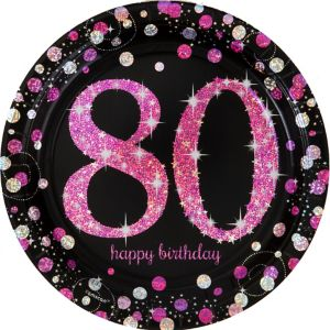 Prismatic 80th Birthday Lunch Plates 8ct - Pink Sparkling Celebration