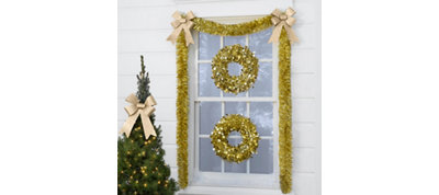 Gold Christmas Window Decorating Kit
