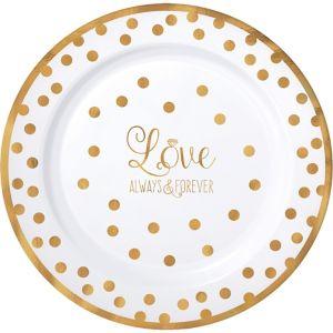 Sparkling Gold Wedding Premium Plastic Dinner Plates 10ct