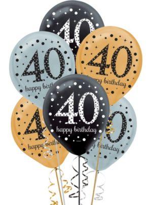 40th Birthday Balloons 15ct - Sparkling Celebration