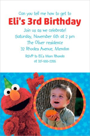 Custom Sesame Street Photo Invitation