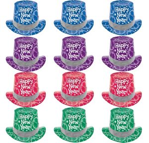 Colorful New Year's Top Hats 12ct