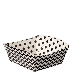 Black Polka Dot & Chevron Square Paper Food Trays 16ct