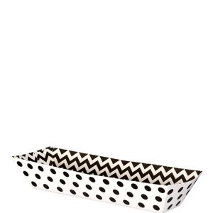 Small Black Polka Dot & Chevron Rectangular Paper Food Trays 16ct