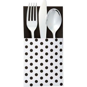 Black Polka Dot Cutlery Holders 16ct
