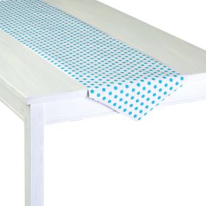 Caribbean Blue Polka Dot Table Runner Roll