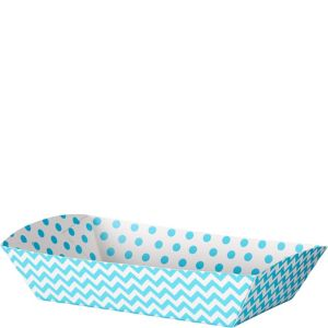 Caribbean Blue Polka Dot & Chevron Rectangular Paper Food Trays 16ct