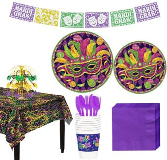 Masquerade Mardi Gras Basic Party Kit for 8 Guests