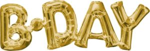 Air-Filled Gold B-Day Letter Balloon Banner