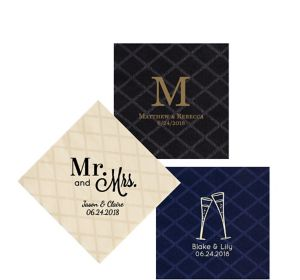 Personalized Wedding Diamonds Beverage Napkins