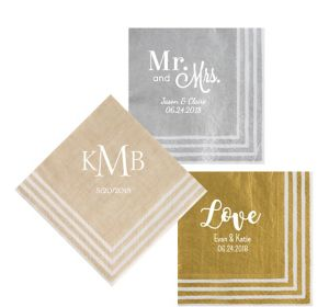 Personalized Wedding Stripe Border Lunch Napkins