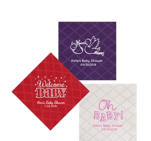 Personalized Baby Shower Diamonds Beverage Napkins