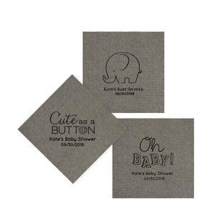 Personalized Baby Shower Tweed Print Beverage Napkins