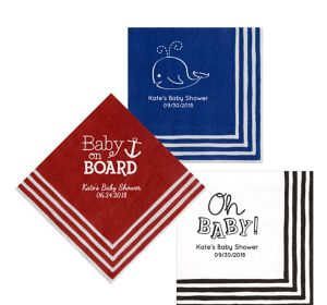 Personalized Baby Shower Stripe Border Lunch Napkins