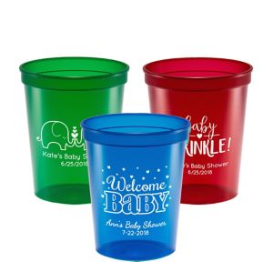 Personalized Baby Shower Translucent Plastic Stadium Cups 16oz