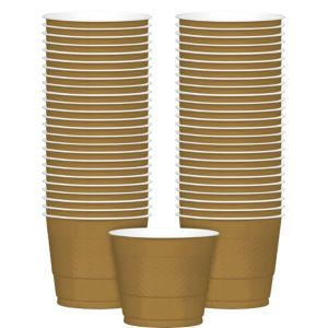 Big Party Pack Gold Plastic Cups 50ct