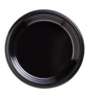Big Party Pack Black Plastic Lunch Plates 50ct