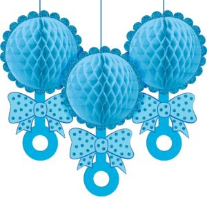 Blue Baby Rattle Honeycomb Balls 3ct