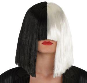 Adult Secret Singer Black & White Wig