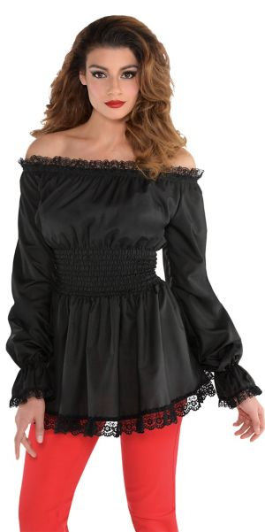 Adult Black Peasant Top