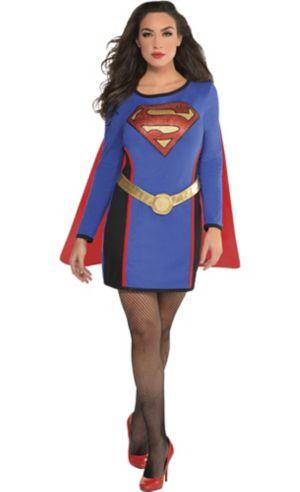 Adult Long-Sleeve Supergirl Dress - Superman