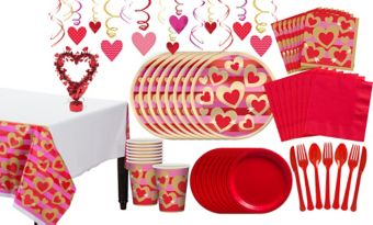 Heart of Gold Valentine's Day Tableware Kit for 8 Guests