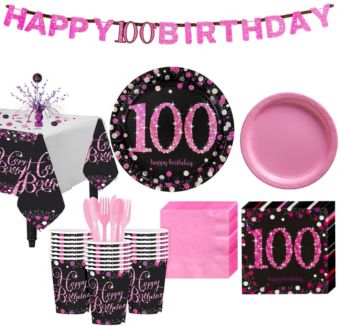 100th Birthday Pink Sparkling Celebration Party Kit for 32 Guests