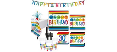Rainbow 30th Birthday Party Kit for 32 Guests