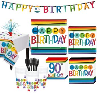Rainbow 90th Birthday Party Kit for 32 Guests