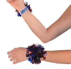 New York Giants Pom-Pom Wristbands 2ct