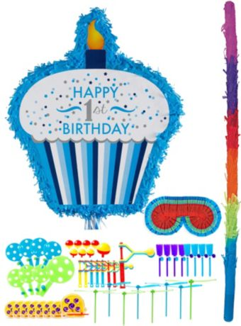 Blue Cupcake 1st Birthday Pinata Kit with Favors