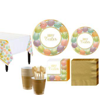 Golden Easter Egg Tableware Kit for 8 Guests
