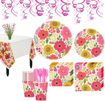 Coral Floral Tableware Kit for 8 Guests