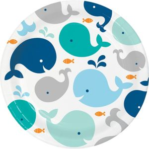 Blue Baby Whale Lunch Plates 8ct