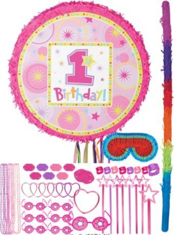 Round Pink 1st Birthday Pinata Kit with Favors