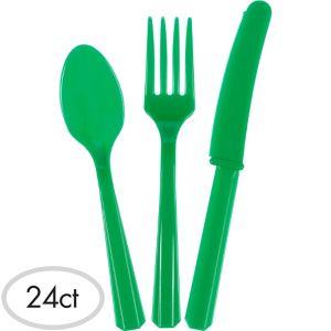 Festive Green Plastic Cutlery Set 24ct