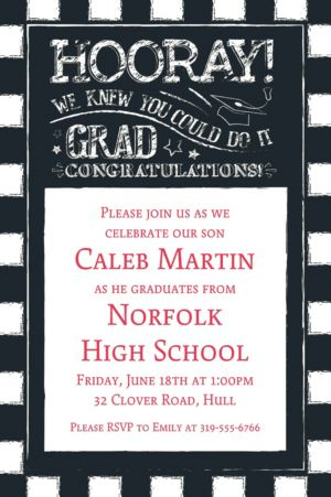 Custom Chalk Hooray Graduation Invitation