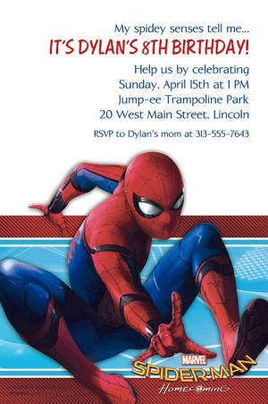 Custom Spider-Man Homecoming Invitation