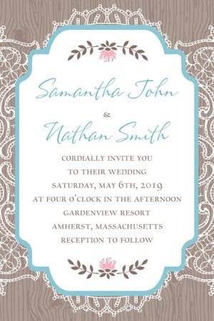 Custom Rustic Lace and Wood Invitation