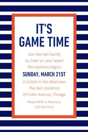 Custom Blue and Orange Stripes Invitation