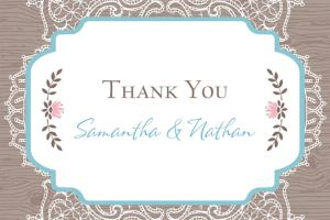 Custom Rustic Lace and Wood Thank You Note