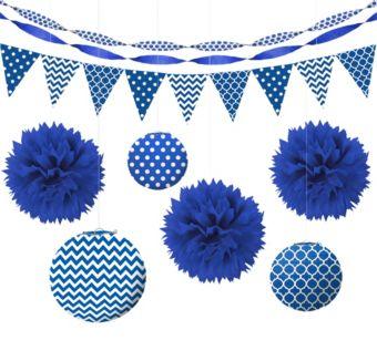 Royal Blue Polka Dot & Chevron Decorating Kit
