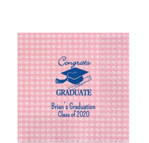Personalized Graduation Gingham Lunch Napkins