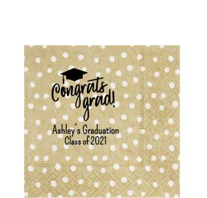 Personalized Graduation Small Dots Lunch Napkins