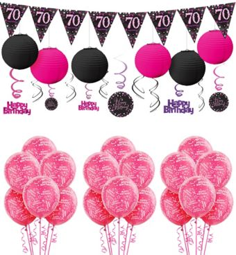 70th Birthday Pink Sparkling Celebration Decorating Kit
