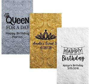 Personalized Birthday Embossed Damask Guest Towels
