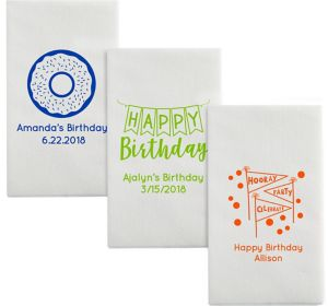 Personalized Birthday Luxury Deville Side-Fold Dinner Napkins
