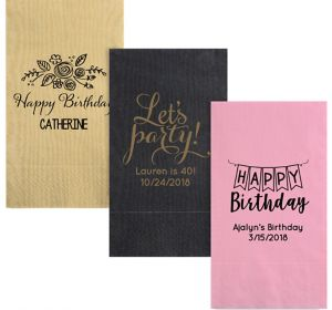 Personalized Birthday Moire Guest Towels