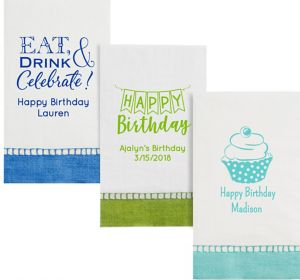 Personalized Birthday Bordered Guest Towels