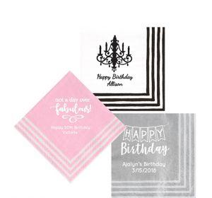 Personalized Birthday Stripe Border Beverage Napkins